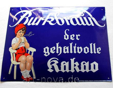 sehr toll erhaltenes Emailschild Burkbraun Kakao aus Cottbus