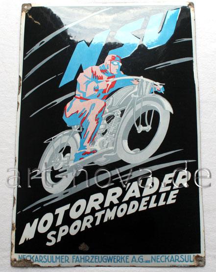 Schönes Emailschild NSU Motorräder Sportmodelle im unrestaurierten Originalzustand.