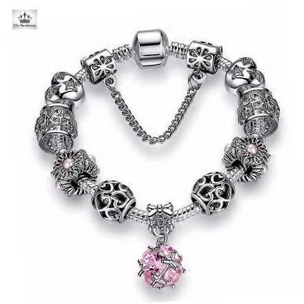 bracelet composable type pandora charm's pas cher breloque argent tendance