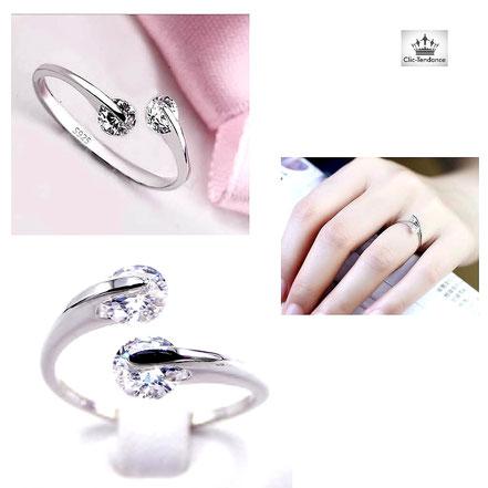 Anneau Diamant et Argent