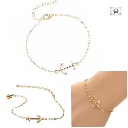 bracelet ancre marine bijou femme original en argent ou or