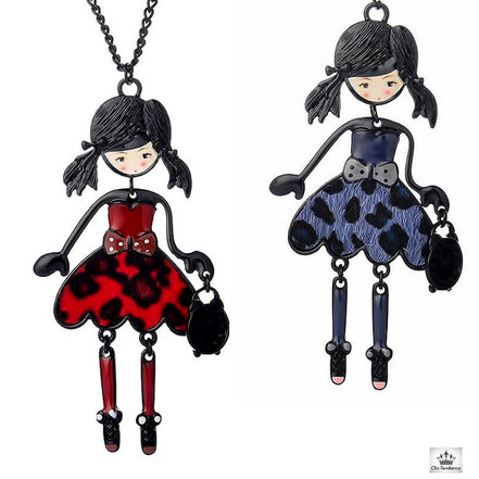 sautoir poupée articulée collier fantaisie personnage articulé rouge ou bleu
