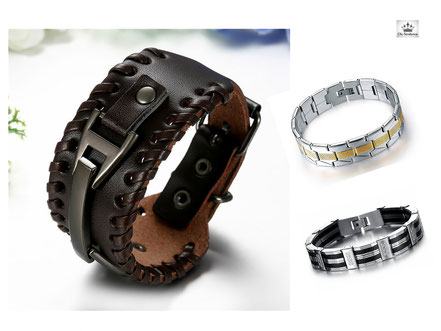 Bracelet cuir Tendance Homme et Gourmette en Acier Inox