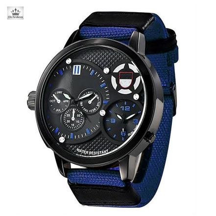 montre tendance homme bleue grand cadran style militaire bracelet tissu