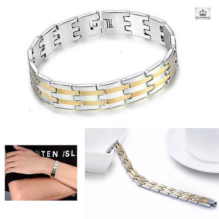 bracelet acier inox or et noir pour homme