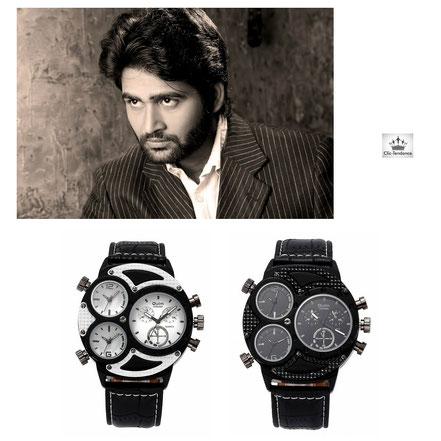 montre homme tendance grand cadran balnc ou noir bracelet cuir