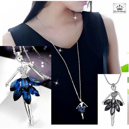 chaine et pendentif coeur argent et cristal
