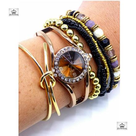 bracelet femme tendance et coloré breloque or-violet