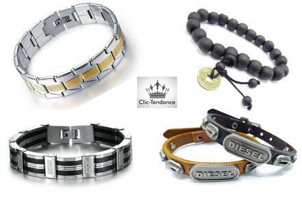 gourmette acier homme et bracelet cuir