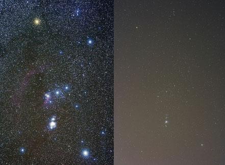 Vergleich Sternbild Orion unter dunklem Himmel - links und unter lichtverschmutzten Himmel rechts