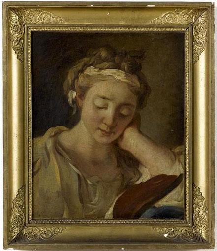 Antoine-François Callet, La liseuse, huile sur toile, XVIIIe s., don Boucher de Perthes / Photo Musée d'Abbeville