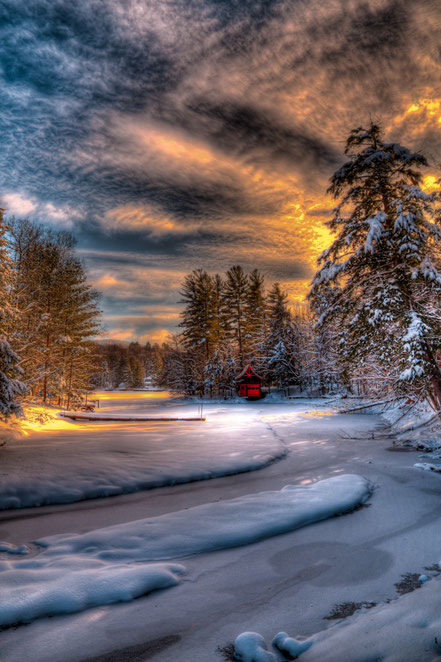 Winter Sunset - Old Forge, New York - ADKW011