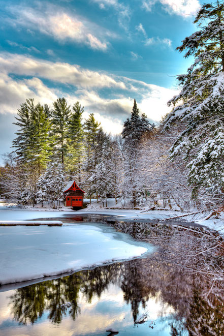 Early Winter at the Red Boathouse -  Old Forge - ADKO006