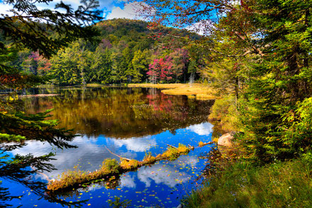 Fall Reflections on Cary Lake, Old Forge, NY - ADK028