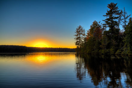 Sun Setting on Nick's Lake - Old Forge, NY - ADK029