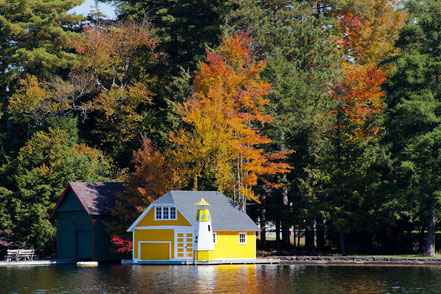 The Yellow Boathouse on Old Forge Pond - ADKA009