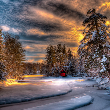A Winter Sunset - Old Forge - ADKA026