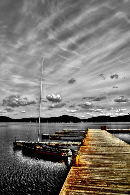 Sailboat at the Dock- At The Woods Inn - Inlet, NY - ADK024