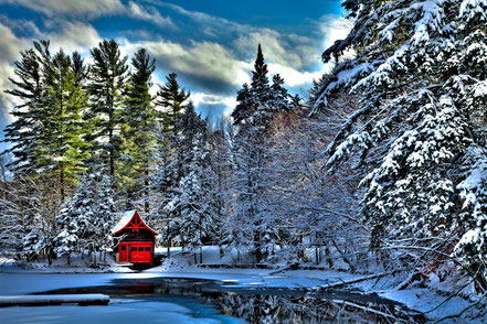 Winter Sun on the Red Boathouse -  Old Forge - ADKO005