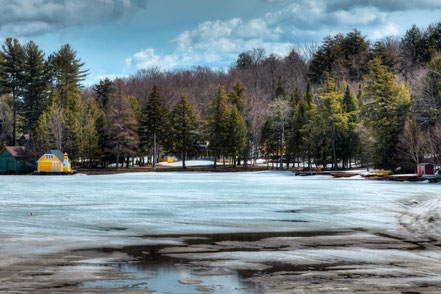 The Yellow Lighthouse on Old Forge Pond - ADKW009