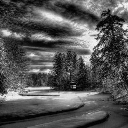 Sunlit Snow on Beaver Brook - Old Forge, NY - BW007