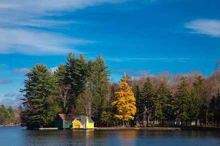 The Yellow Boathouse on Old Forge Pond - ADKO003