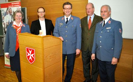 Frau Dr. von Schierstaedt (Malteser Münster), Tom Veltmann (CSR-Experte), Graf von Saurma-Jeltsch (Malteser Köln), Graf von Ballestrem (BKU Münster), Herzog von Croy (Malteser Münster)