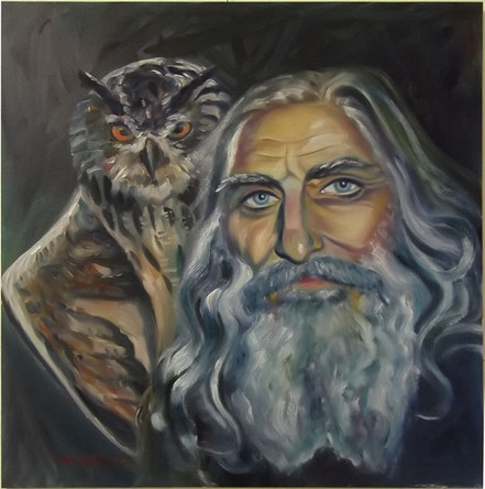 Oil painting, ukrainian artist Lev Skop with an owl on the shoulder