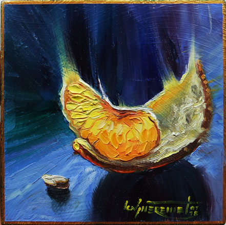 still life oil painting mandarin daily painting