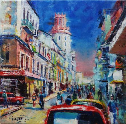 Havana, cuba, classic car, vintage car, cityscape, oil painting