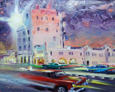 havana, malecon, dusk, night, oldies, vintage cars oil painting