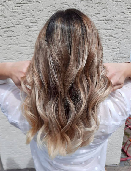 Highlight Bielefeld blond balayage oststrasse locken wellen
