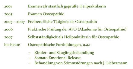 Lebenslauf Teil 2 Eva Meyer Gleitz Praxis für Osteopathie Hannover List Lister Meile Oststadt