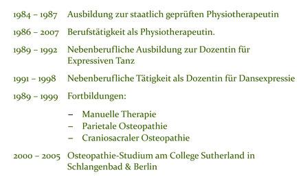 Lebenslauf Teil 1 Eva Meyer-Gleitz Praxis für Osteopathie Hannover List Lister Meile Oststadt