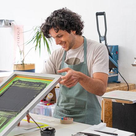 Projekt, Design, privat, kreativ, Workshop, Siebdruck Workshop, Frankfurt am Main, Screen Print, Jakob und Tatze, jakobundtatze, Siebdruck, Atelier, Werkstatt, Visitenkarte, print, DIY