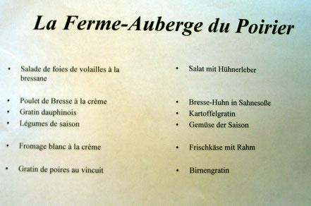Bild: Menükarte der Ferme du Poirier