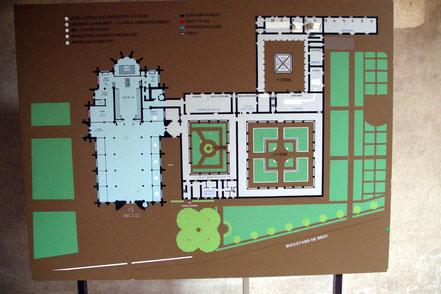 Bild: Grundriss der Kirche mit Klostergarten, Kreuzgang und Museum in Bourg-en-Bresse