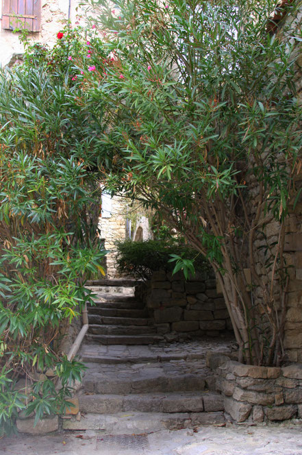 Bild: enge Gassen und Treppen in Lurs, Alpes de Haut Provence