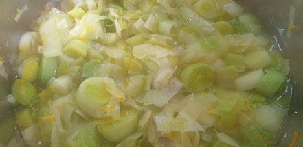 Bild: Rezept  Soupe poireaux-orange - Lauch suppe mit Orange