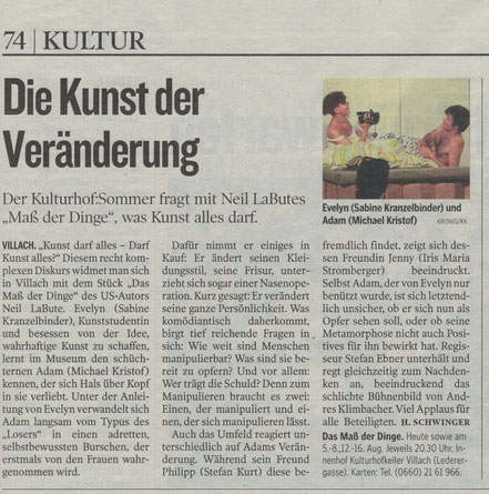 Kleine Zeitung, Bericht vom 24.7.2015