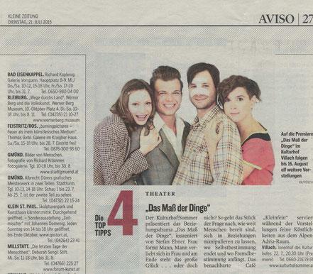 Kleine Zeitung, Avis vom 21.07.2015