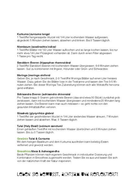 Anleitung, Teerezepte - Zimmerli Adaptogene