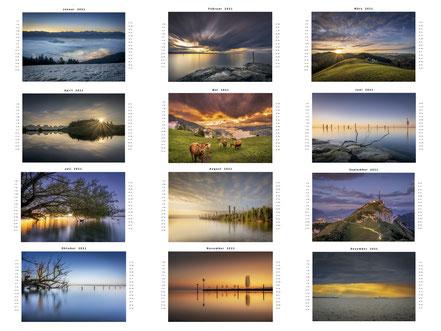 Bildübersicht Landschaftskalender 2021 Thomas Staub Photography