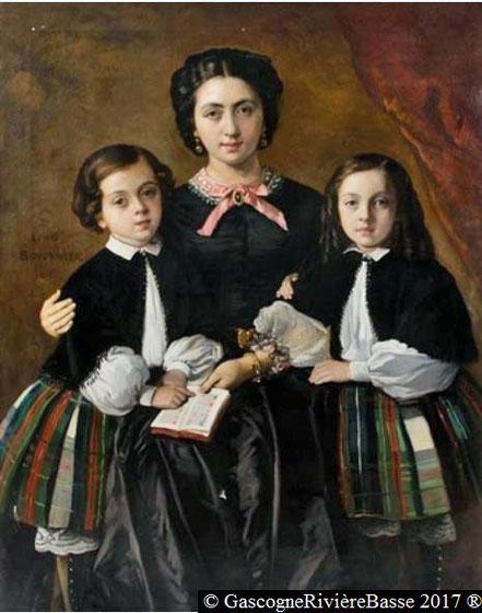 Rosa Granier de Cassagnac et ses deux fils Albert et Georges par le peintre louis boulanger