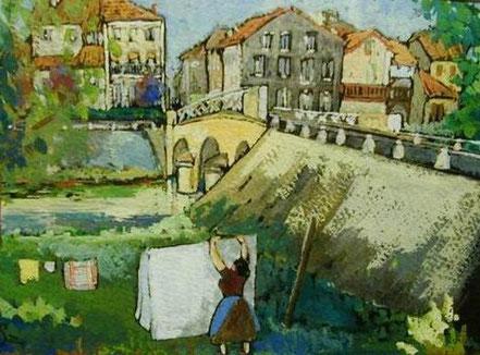 André Saramon peinture tableau plaisance du gers