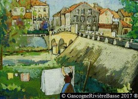 Peintre André Saramon tableau arros pont