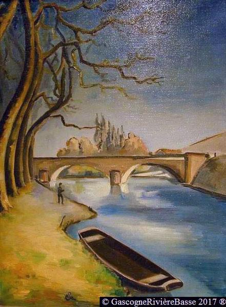 Peintre André Saramon tableau arros plaisance du gers