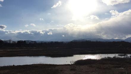 御所湖の雫石園地近くの東屋から。水鳥やトンビが飛び回っていました