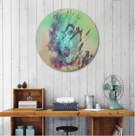 Sublimation art print on a .045 thick aluminum disk. Includes wall hanging hardware. Manually numbered, signed, and shipped with a certificate of authenticity.