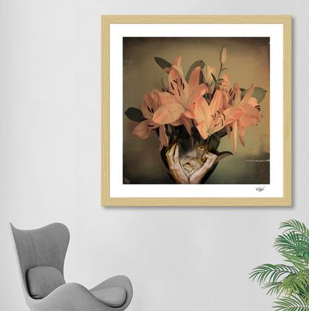 Surreal portrait, old man, flowers, petals, digital art